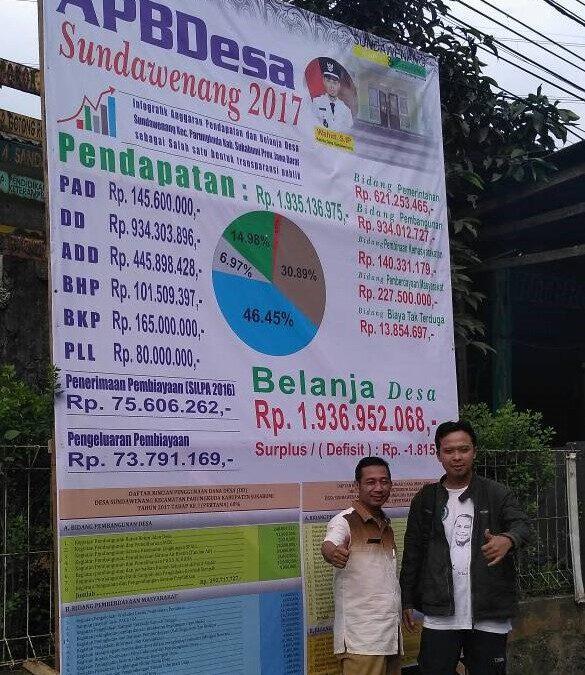 Desa Sundawenang Pelopori Pemasangan Spanduk APBDesa